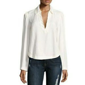 FRAME Whipstitch V-Neck Blouse Top, Off White